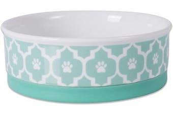 (Medium Round, Aqua) - Bone Dry DII Lattice Square Ceramic Pet Bowl for Food & Water