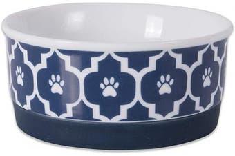 (Small Round, Nautical Blue) - Bone Dry DII Lattice Square Ceramic Pet Bowl for Food & Water