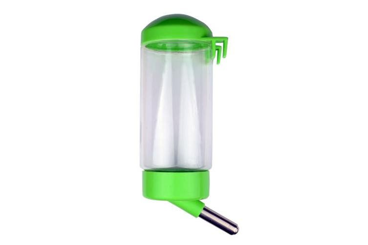(Green) - Flammi Pet Water Bottle Hanging No Drip Chew Proof 450ml/15oz for Puppy Cat Rabbit Small Animals, Automatically Feeding Water