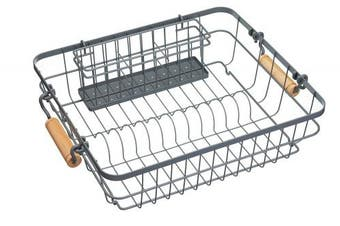 "KitchenCraft Living Nostalgia Wire Dish Rack with Cutlery Drainer, 47 x 36 cm (18.5"" x 14"") - Grey"