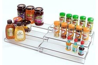 Amtido 3 Tier Expandable Spice Rack Stand Organiser - Chrome