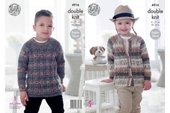 King Cole Childrens Double Knitting Pattern Boys Girls Raglan Sleeve Cable Sweater & Cardigan (4916)