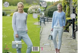 King Cole 4936 Knitting Pattern Womens Raglan Cardigan and Sweater in King Cole Luxury Merino DK