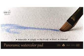 SM. LT AS 20 (260) Pan English Watercolour Pads Panorama Watercolour Paper 260gsm White 100% Recycled Cotton Age, and acid-free paper 20 sheets