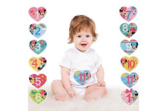 (Heart Shaped Sticker Set) - Disney Baby Girls Minnie Mouse Monthly Milestone Photo Prop Belly Stickers, 12 Sticker Gift Set, 0-12M (Heart Shaped Sticker Set)