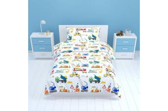 (Single Duvet Set) - Bloomsbury Mill - Construction Vehicles - Trucks, Diggers & Cranes - Kids Bedding Set - Single Duvet Cover & Pillowcase