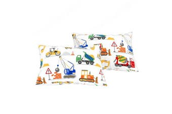 (Pair of Pillowcases) - Bloomsbury Mill - Construction Vehicles - Trucks, Diggers & Cranes - Kids Design - Pair of Pillowcases (Extra)