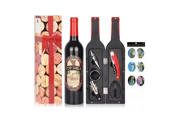 (Red & Black (Drip Ring)) - Wine Accessories Gift Set - 5 Pcs Deluxe Wine Corkscrew Opener Sets Bottle Shape in Elegant Gift Box, Great Wine Gifts Idea for Wine Lovers, Friends, Anniversary, Valentine's Day
