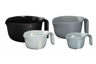 MasterClass Smart Space 4-in-1 Nesting Mixing Bowl / Colander / Measuring Jugs - Black / Grey (4-Piece Set)