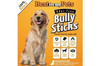 30cm Bully Sticks Odour-Free All Natural Dog Treats Fresh Long Lasting Chews by Best For My Pets, 240ml Bag