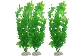 (27cm  Green, 3pcs) - CNZ Aquarium Decor Fish Tank Decoration Ornament Artificial Plastic Plant Green