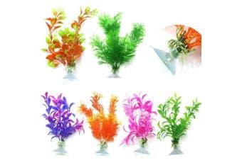 (6pcs with suction) - CNZ Assorted Colour Aquarium Plastic Plant Decoration w Ceramic Base