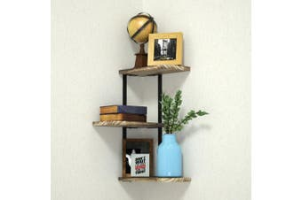 (3 tier corner) - Corner Shelf Wall Mount of 3 Tier by Love-KANKEI, Rustic Wood Floating Shelves for Bedroom, Living Room, Bathroom, Kitchen, Office and More