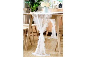 (White) - BOXAN 80cm x 300cm Vintage White Lace Wedding Table Runner with Rose Floral Table Overlay for Rustic Boho Wedding Reception Table Decor, Chic Bridal Shower Baby Shower Birthday Party Table Decorations