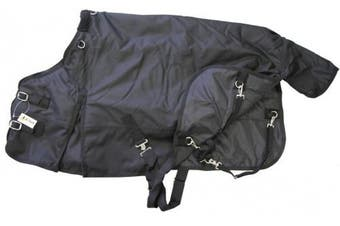 (130cm , Black) - Medium Weight Pony Turnout Blanket 1200D Rip Stop Water Proof
