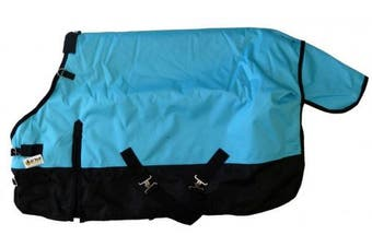(160cm , Turquoise Blue) - Medium Weight Pony Turnout Blanket 1200D Rip Stop Water Proof