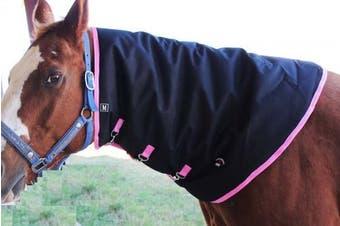 (Large, Black with Pink Trim) - Horse 1200D Waterproof Mane Neck Cover Hood 350gms Challenger Blanket 520P