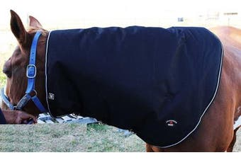 (Large, Black with White Trim) - Horse 1200D Waterproof Mane Neck Cover Hood 350gms Challenger Blanket 520P