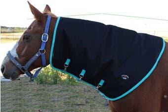 (Medium, Black with Turquoise Trim) - Horse 1200D Waterproof Mane Neck Cover Hood 350gms Challenger Blanket 520P