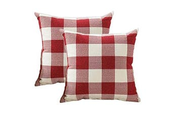 (46cm  x 46cm , Red & White) - 4TH Emotion Set of 2 Red and White Buffalo Cheque Plaid Throw Pillow Covers Cushion Case Cotton Linen for Christmas Home Decor, 46cm x 46cm