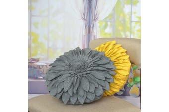 (12 Inch / 30 CM, Wool Dark Gray) - JW Handmade 3D Sun Flowers Accent Pillows Round Cushions for Home Sofa Car Office Chair Bed Decoration Wool Dark Grey 12 Inch / 30 CM