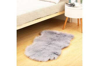 (Grey) - Reafort High Pile Super Soft Faux Sheepskin Rug, Chair Cover, Sofa Cover 20inx36in (Grey)