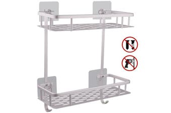 (Square Shelf) - Hawsam No Drilling Bathroom Shelves, Aluminium 2 Tier Shower Shelf Caddy Adhesive Storage Basket for Shampoo (Square Shelf)