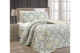 (Full/Queen, Yellow) - Fancy Collection 3 pc Bedspread Bed Cover Modern Reversible White Yellow Green Grey New #Linda Yellow Full/Queen Over size 270cm x 240cm