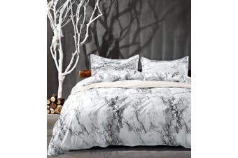 (Queen, Marble) - NANKO Queen Bedding Duvet Cover Set White Marble, 3 Piece - 1000 - TC Luxury Microfiber Down Comforter Quilt Cover with Zipper Closure, Ties - Best Organic Modern Style for Men and Women