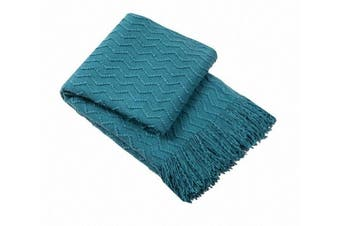 (Teal) - Bourina Throw Blanket Textured Solid Soft Sofa Couch Decorative Knitted Blanket, 130cm x 150cm ,Teal