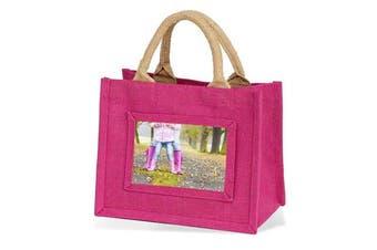 (Pink) - Jute Bag Shopping Bag Mini - Pink