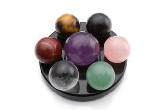 (Obsidian Base-50*6mm) - QGEM Reiki Sphere Amethyst Gemstone Crystal Balls with Black Obsidian Base Seven Star Group Healing Balancing
