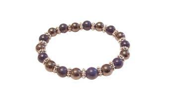 (Blue Lazuli) - Colourful 8mm Magnetic Hematite Healing Stretch Bracelet Arthritis Migraines Headaches - Choice of Colour - Approx 19cm