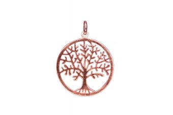 ANTOMUS® 18K ROSE GOLD VERMEIL SOLID STERLING SILVER TREE OF LIFE YGGDRASIL PENDANT 25mm diameter x 32 high x 0.65mm thick total weight 1.95 grammes