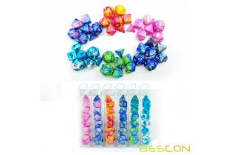 Bescon Mini Gemini Two Tone Polyhedral RPG Dice Set 10MM, Mini RPG Dice Set D4-D20 in Tube Packaging, Assorted Coloured of 42pcs (7X6 Different Colours)