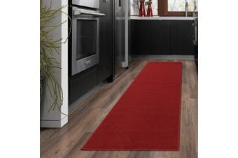 (0.3m x 3.7m, Red) - Ottomanson Ottohome Collection Carpet Solid Hallway Wedding Aisle Runner Rug with (Non-Slip) Rubber Backing, Red, 0.3m x 3.7m
