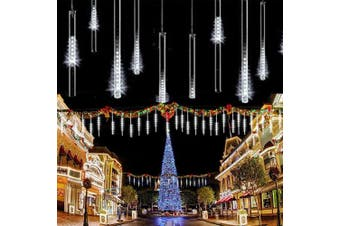 (White) - LED Meteor Shower Solar Lights Garden,KINGCOO Waterproof Falling Raindrop Cascading Decorative String Lights with 30cm 10 Tubes 360LEDs for Holiday Party Wedding Christmas Tree Decoration (White)