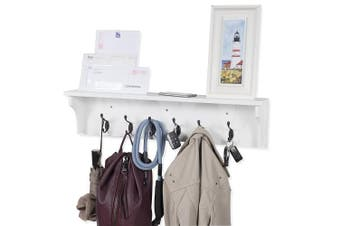 (White) - Solid Wood Entryway Organisation Wall Mountable 80cm Coat Rack with 6 Hooks Walnut (White)