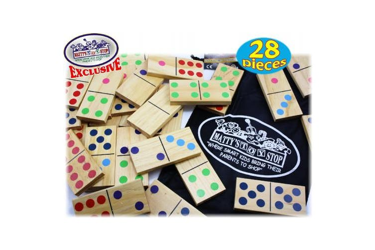 Matty's Toy Stop Deluxe Giant Wooden Dominoes Double Six (13cm ) Colour Dot, 28 Piece Set with Storage Bag