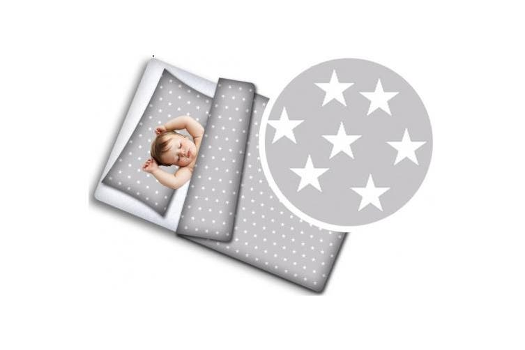 (Gray with white stars, 90x120 + 40x60) - Baby Cotton Bedding Set 100x135cm and 90x120cm to Choose from 2-Piece Children's Bedding (Grey with White Stars, 90x120 + 40x60)