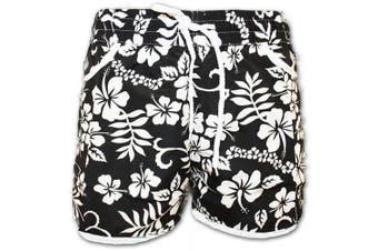 (18 to 20, Black) - A-Express® Girls Ladies Floral Flower Print Board Swim Beach Shorts