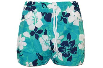 (14 to 16, Turquoise) - A-Express® Girls Ladies Floral Flower Print Board Swim Beach Shorts