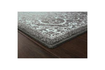 (0.3m2.4m x 0.6m10, Grey/Blue) - Accent Rug, Maples Rugs [Made in USA][Pelham] 0.3m2.4m x 0.6m10 Non Slip Padded Small Throw Rugs for Living Room, Bedroom, and Kitchen - Grey/Blue