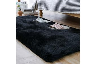 (0.7m x 1.5m, Black) - Carvapet Luxury Soft Faux Sheepskin Fur Area Rugs for Bedside Floor Mat Plush Sofa Cover Seat Pad for Bedroom, 0.7m x 1.5m,Black