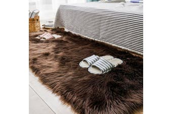(0.7m x 1.5m, Brown) - Carvapet Luxury Soft Faux Sheepskin Fur Area Rugs for Bedside Floor Mat Plush Sofa Cover Seat Pad for Bedroom, 0.7m x 1.5m,Brown