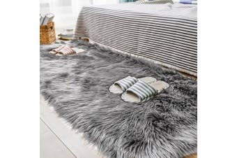 (0.7m x 1.5m, Grey) - Carvapet Luxury Soft Faux Sheepskin Fur Area Rugs for Bedside Floor Mat Plush Sofa Cover Seat Pad for Bedroom, 0.7m x 1.5m,Grey