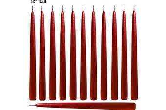 (Red) - Red Taper Candles 30cm Tall Unscented Elegant Premium Quality Dripless Smokeless Hand-Dipped - Set of 12 - for Holiday Decoration Wedding Dinner Table Birthday Made in USA