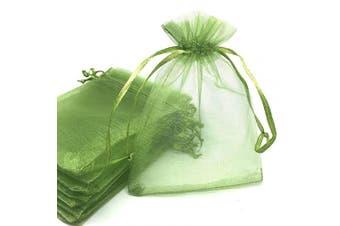 (Grass Green) - ANSLEY SHOP 100pcs 10cm x 15cm Drawstrings Organza Gift Candy Bags Wedding Favours Bags (Grass Green)