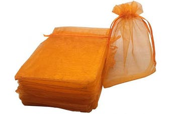 (Orange) - 100pcs 10cm x 15cm Drawstrings Organza Gift Candy Bags Wedding Favours Bags (Orange)