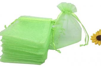 (Green) - YIJUE 100pcs 10cm x 15cm Drawstrings Organza Gift Candy Bags Wedding Favours Bags (Green)